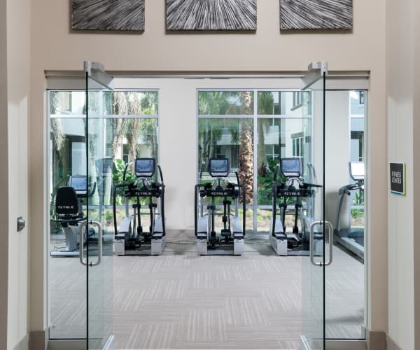 Entrance to fitness center at Jefferson Westshore in Tampa, Florida