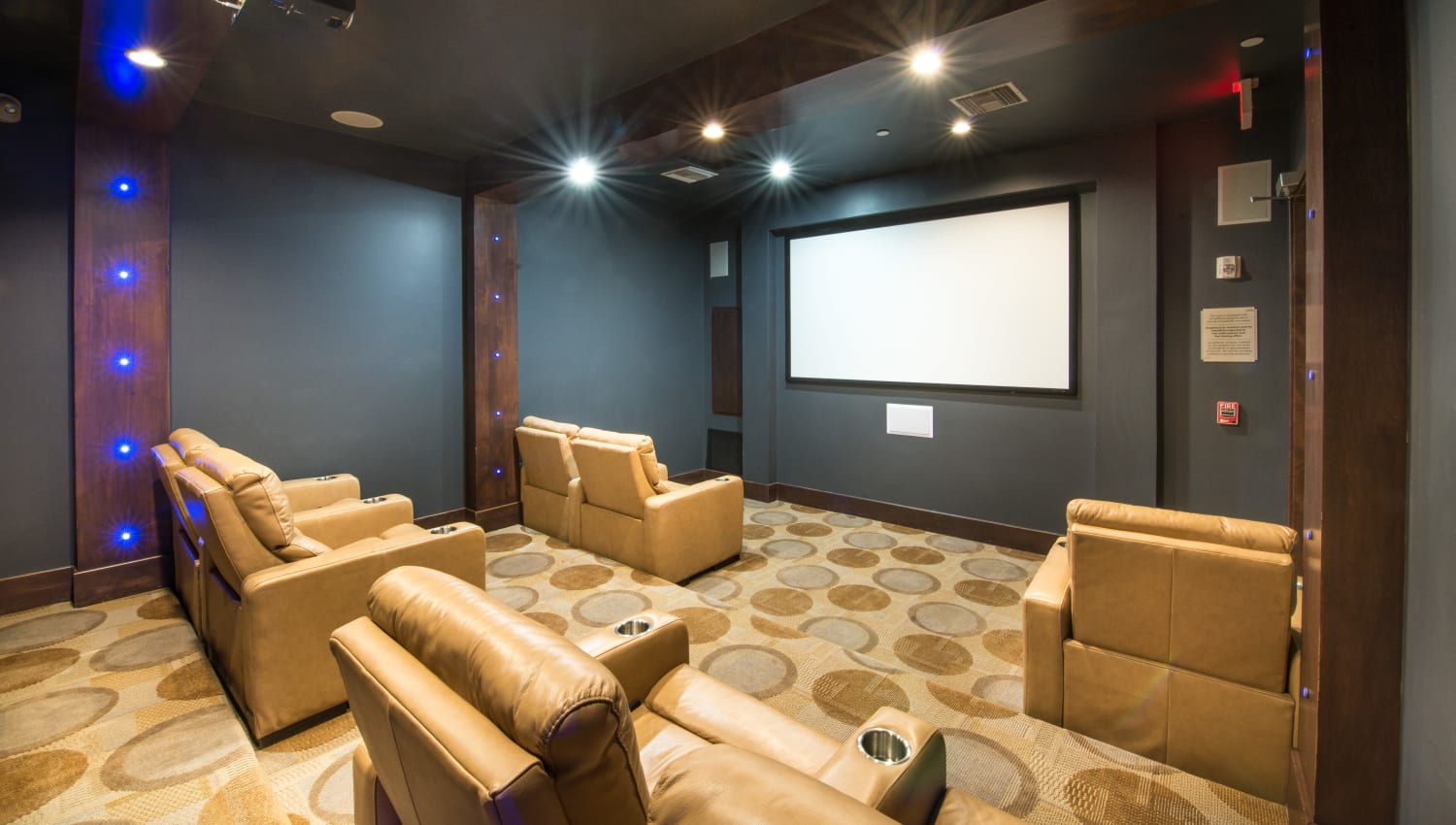 Large leather theater seats at Olympus Encantada in Albuquerque, New Mexico