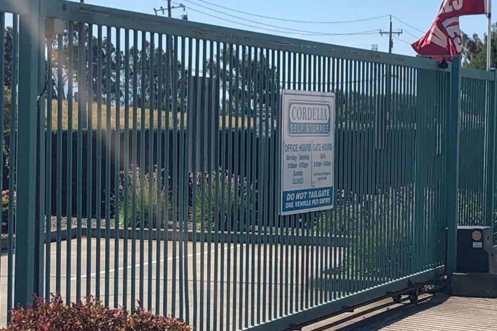 Gated entry of Storage Star Folsom in Folsom, California