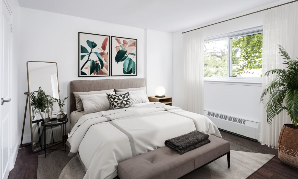 Beautiful bedroom with unique accent lighting at Bayview Mews in North York, Ontario