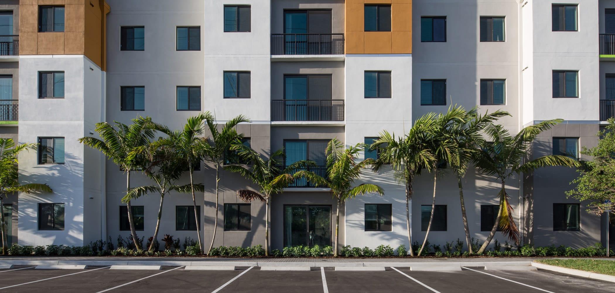 Exterior building and parking lot at University Park in Boca Raton, Florida