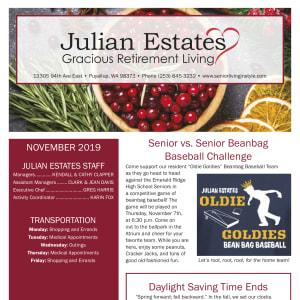 November Julian Estates Gracious Retirement Living newsletter