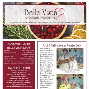 November BellaVista Gracious Retirement Living newsletter