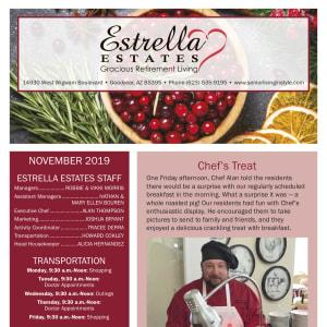 November Estrella Estates Gracious Retirement Living newsletter