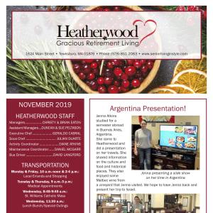 November Heatherwood Gracious Retirement Living Newsletter