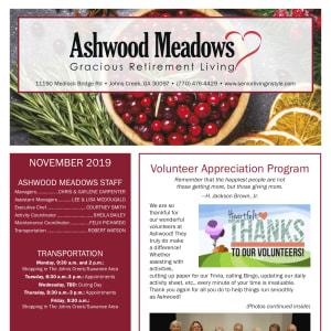 November Ashwood Meadows Gracious Retirement Living newsletter