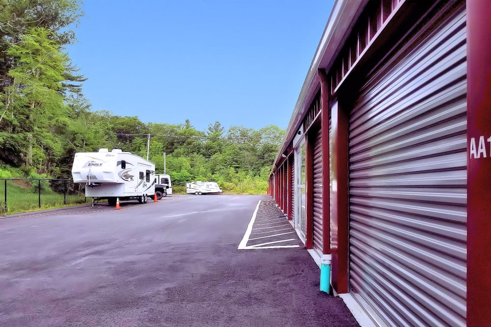 Outdoor storage units and RV parking at Prime Storage in Whitinsville, Massachusetts