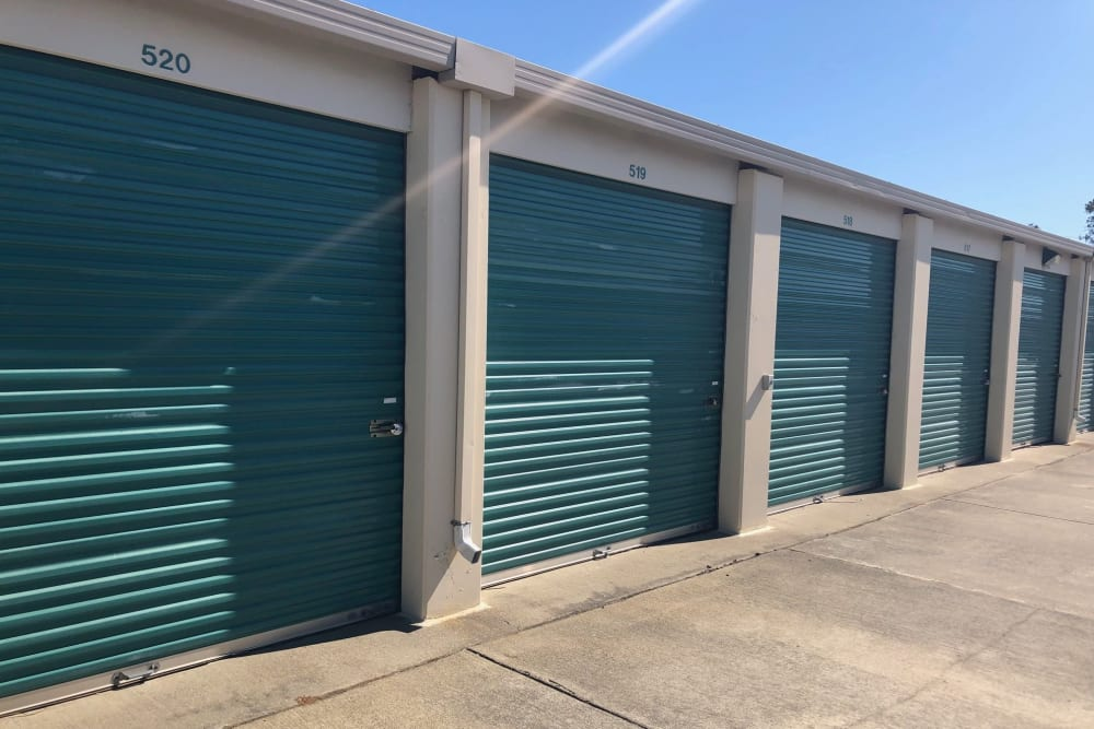 Outdoor units with green doors at Storage Star Folsom in Folsom, California