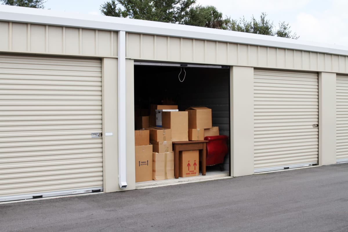 A storage unit with boxes at Red Dot Storage in DeKalb, Illinois