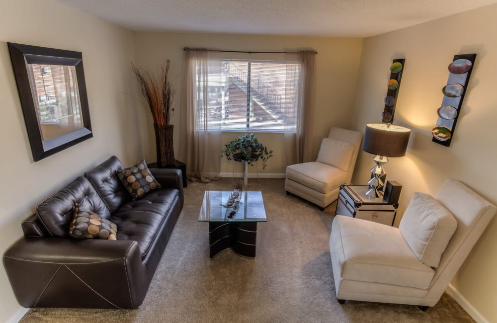 A living room with plush carpeting and a window for natural lighting at Enclave at North Point Apartment Homes in Winston Salem, North Carolina