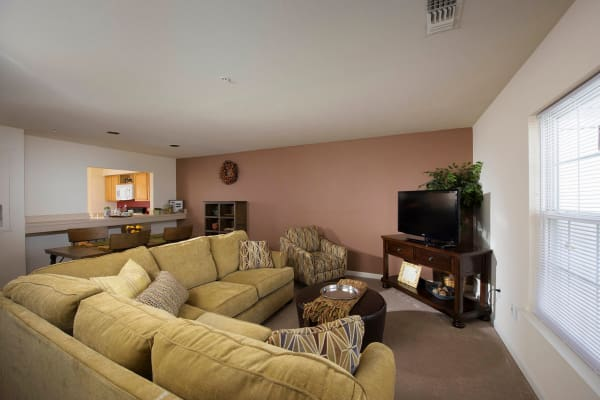 Cozy living room at Villas at Greenview West in Great Mills, Maryland