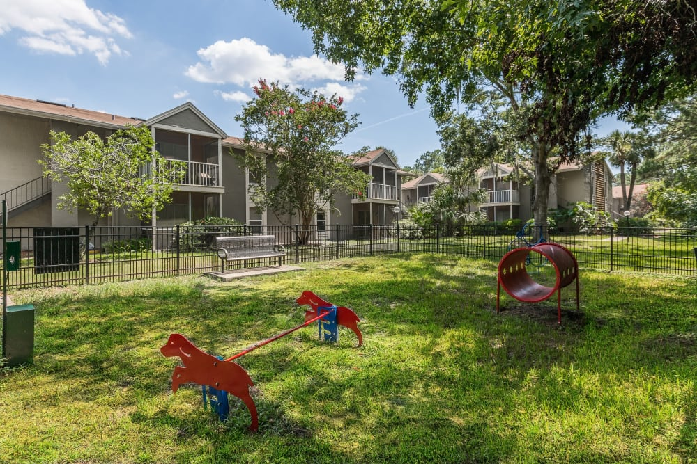 Onsite dog park at The Vue at Baymeadows Apartment Homes in Jacksonville, Florida