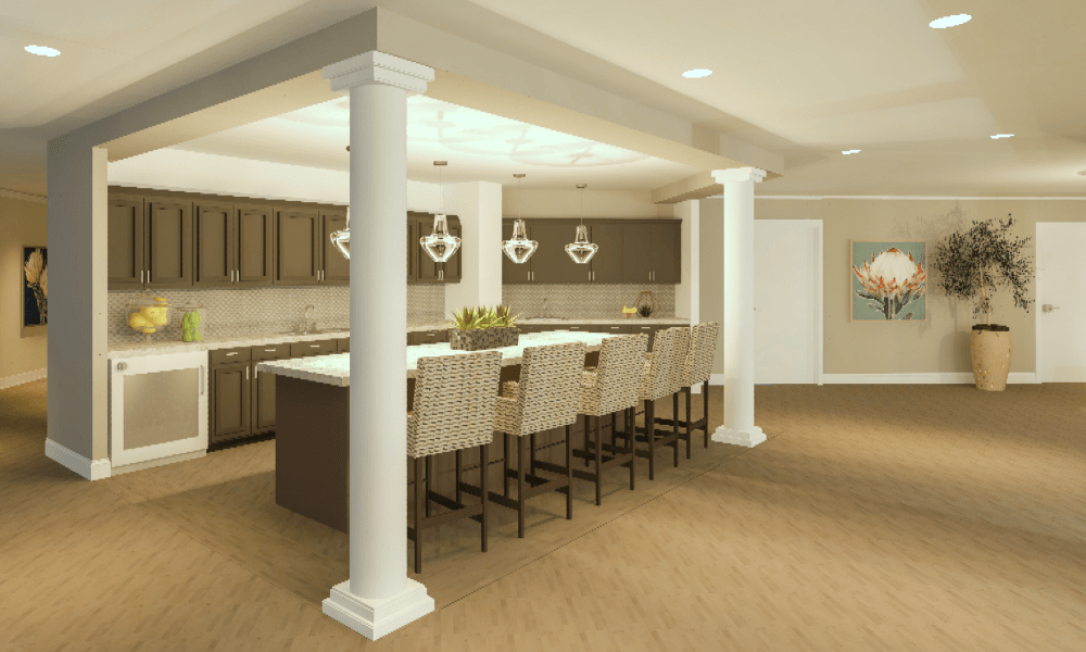Kitchen with bar seating at Boonesboro Trail Senior Living in Winchester, Kentucky