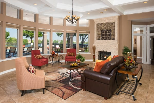 Luxury living room at Crescent Cove at Lakepointe in Lewisville, Texas