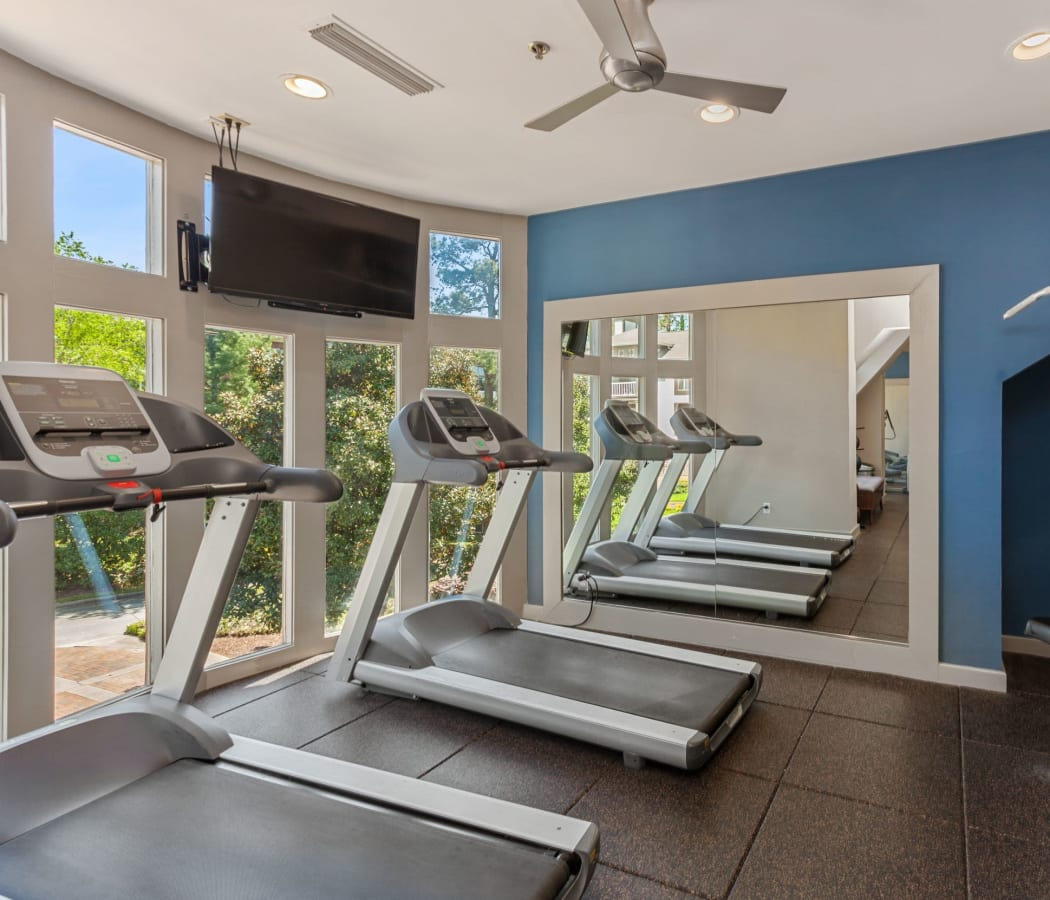 Fitness center with a gorgeous view at 45Eighty Dunwoody Apartment Homes in Dunwoody, Georgia