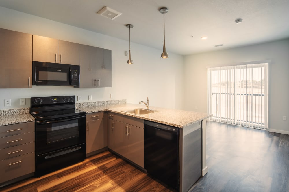 Modern kitchen at Eaton Street Apartments in Westminster, Colorado