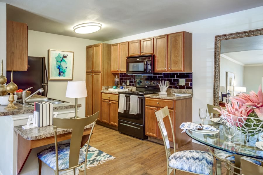 Fully equipped kitchen at Azul Apartment Homes