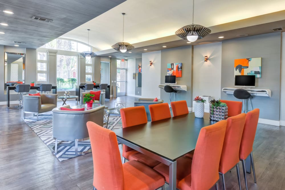 Community common area for resident use at Tuscany Village Apartments in Ontario, California