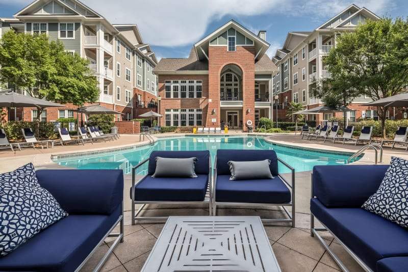 Lounge chairs poolside at The District in Charlotte, North Carolina