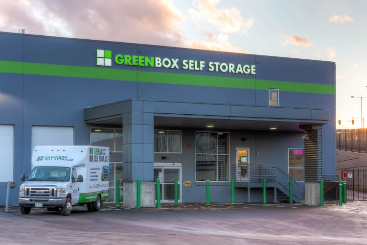 Side exterior view of Greenbox Self Storage in Denver, Colorado