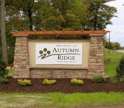Preserve at Autumn Ridge signage in Watertown, New York