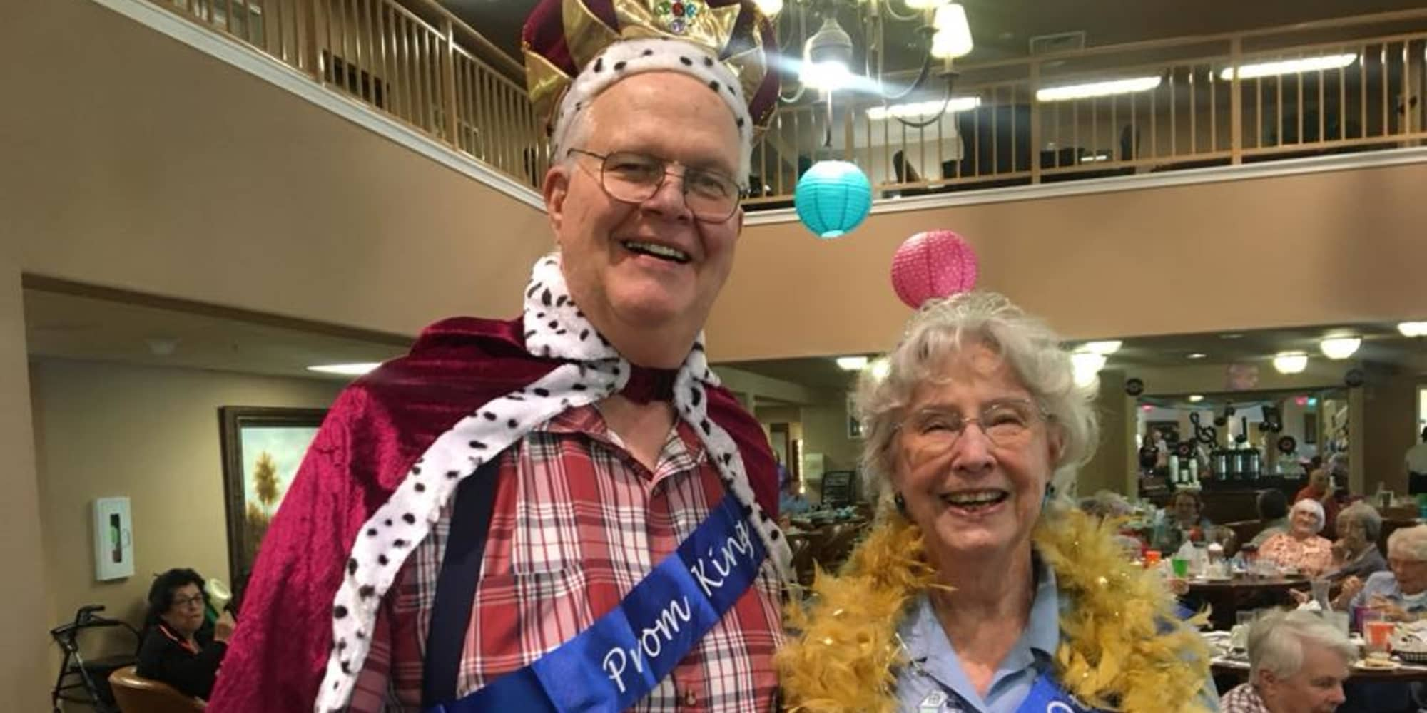 Prom king and queen at Providence Meadows Gracious Retirement Living in Charlotte, North Carolina