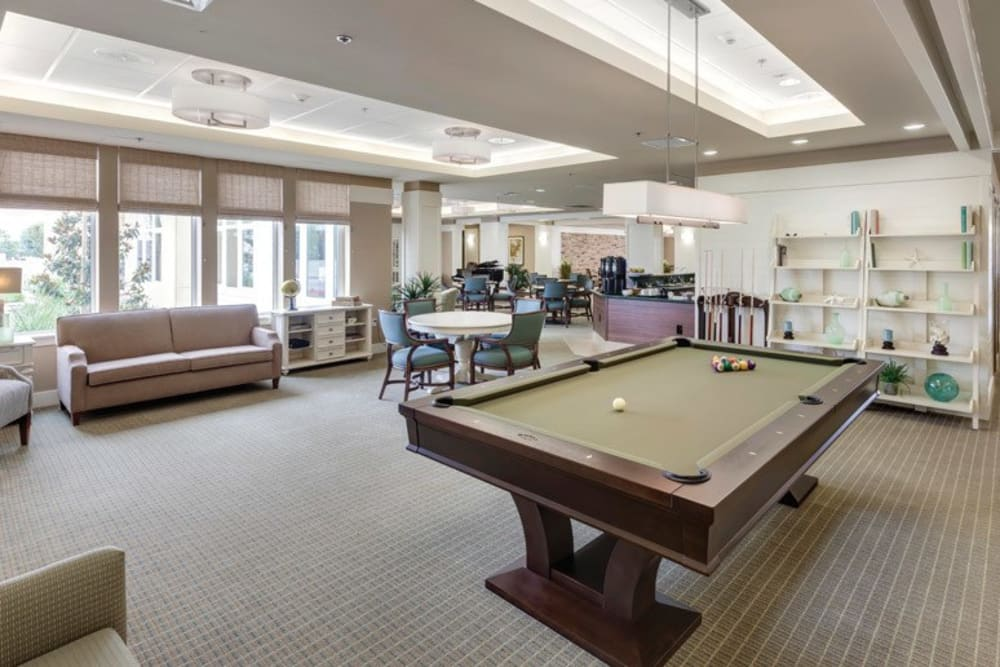 Pool table at Merrill Gardens at Huntington Beach in Huntington Beach, California.
