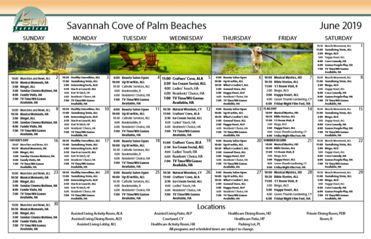 View our monthly calendar of events at Savannah Cove of Palm Beach