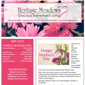May Heritage Meadows Gracious Retirement Living newsletter