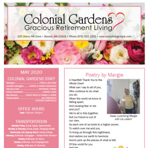 May Colonial Gardens Gracious Retirement Living newsletter
