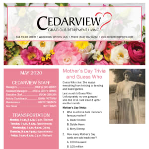 May Cedarview Gracious Retirement Living newsletter