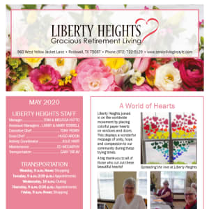 May Liberty Heights Gracious Retirement Living newsletter
