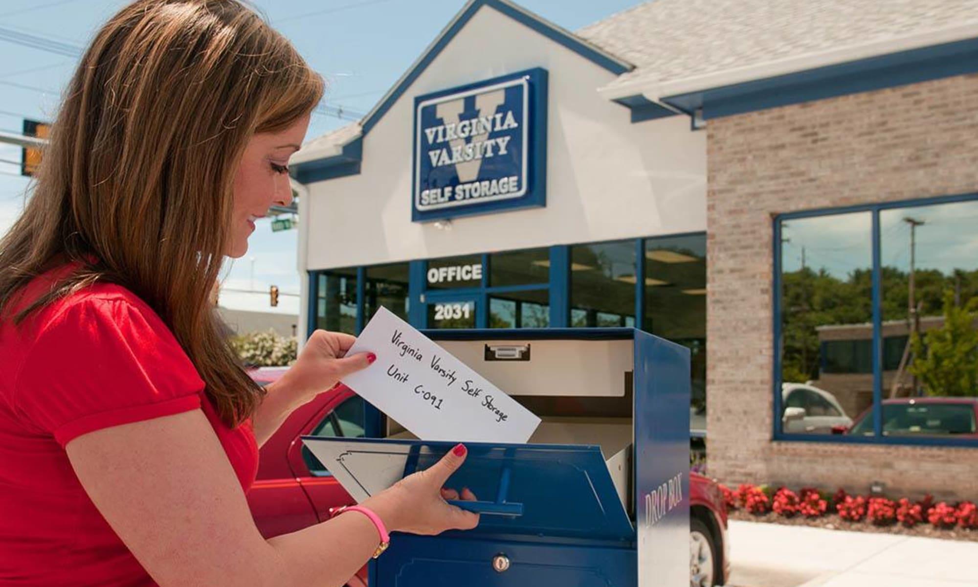 Contact-free payments made at a drop-box at Virginia Varsity Storage in Salem, Virginia