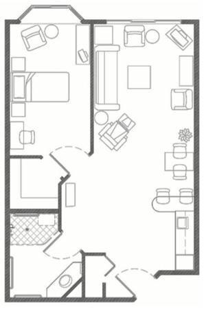 Assisted Living One Bedroom at Hillcrest of Loveland in Loveland, Colorado