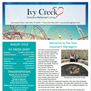 August Ivy Creek Gracious Retirement Living newsletter