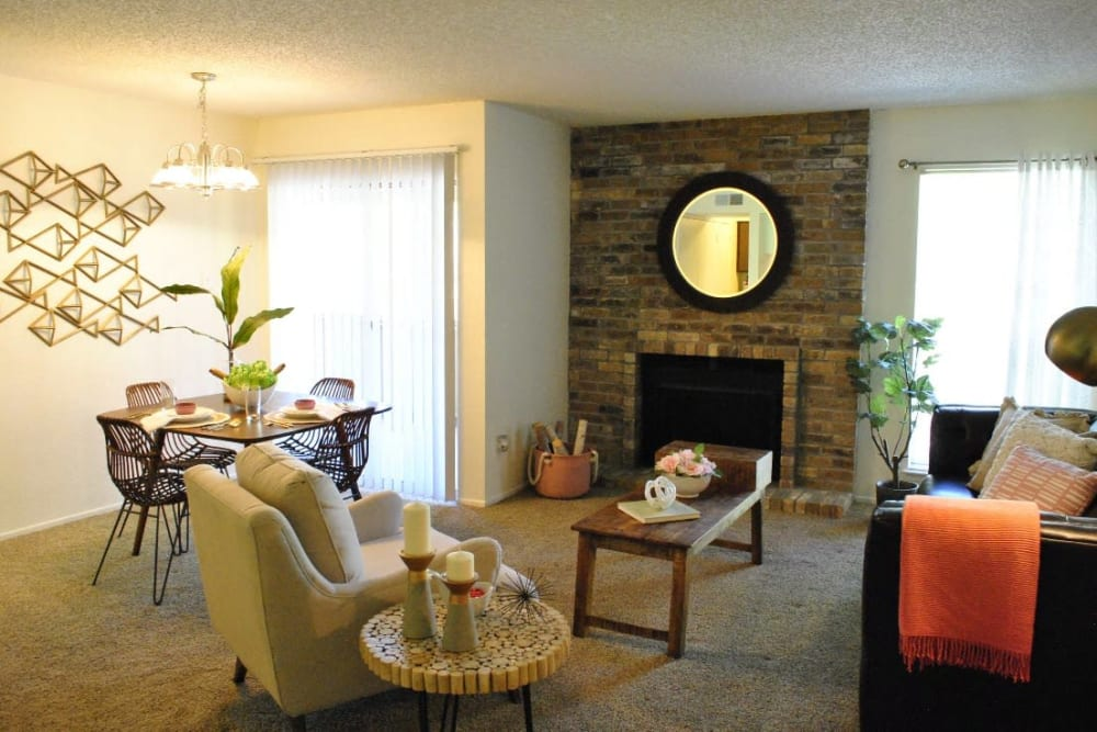 Bright living room at The Chimneys Apartments in El Paso, Texas