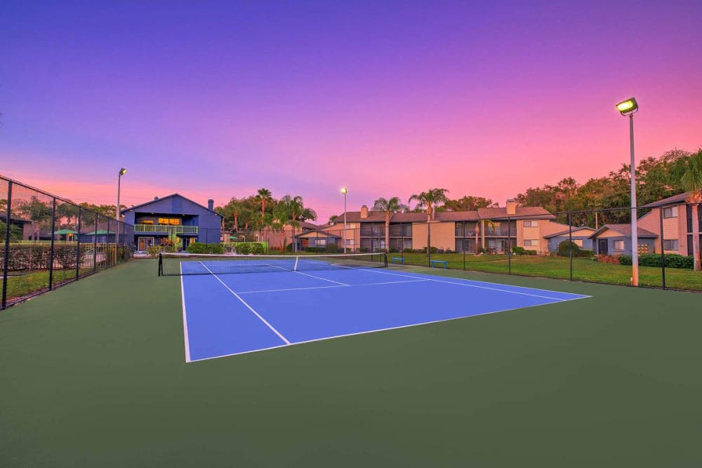 Stunning tennis court under the sunset sky at WestEnd At 76Ten in Tampa, Florida