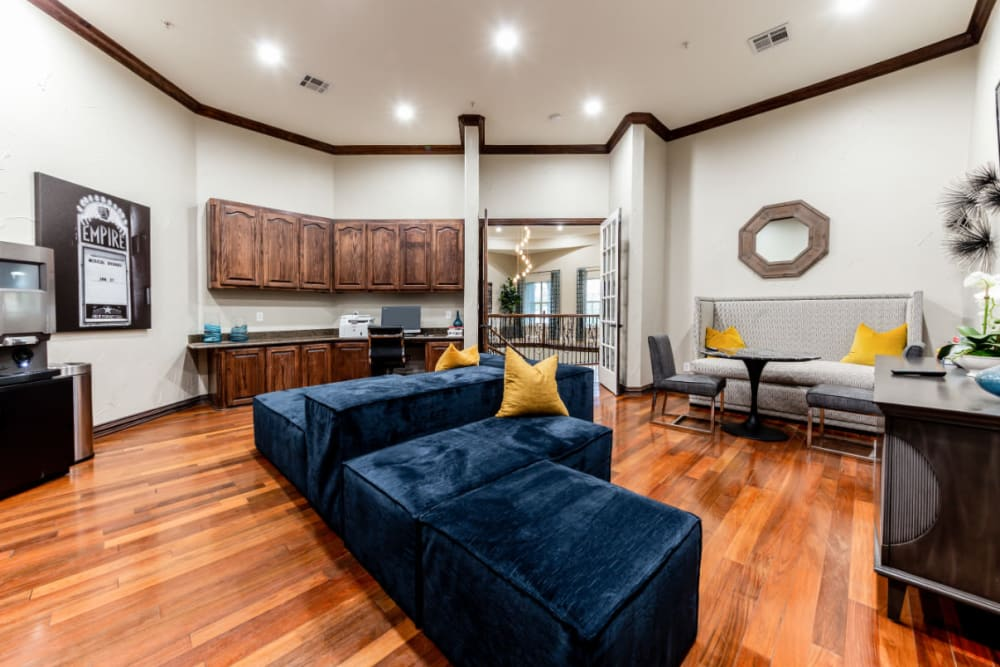 Business center with sitting areas and access to printer at Marquis at Stone Oak in San Antonio, Texas