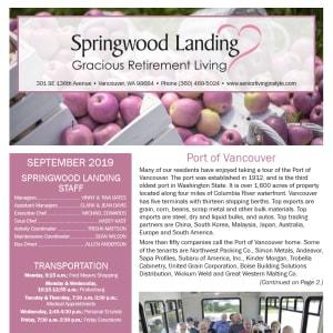 September Springwood Landing Gracious Retirement Living Newsletter