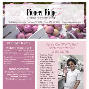 September Pioneer Ridge Gracious Retirement Living Newsletter