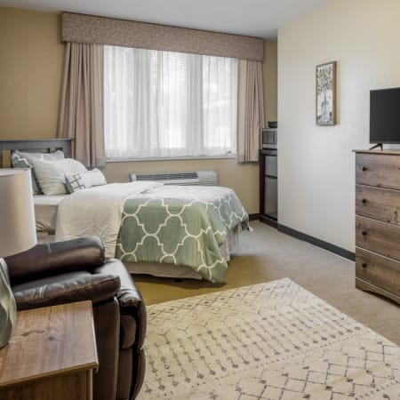 Bedroom at residential care facility in Des Moines, Iowa