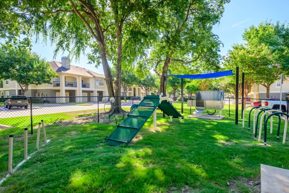 Onsite dog park with agility course at 23Hundred @ Ridgeview in Plano, Texas