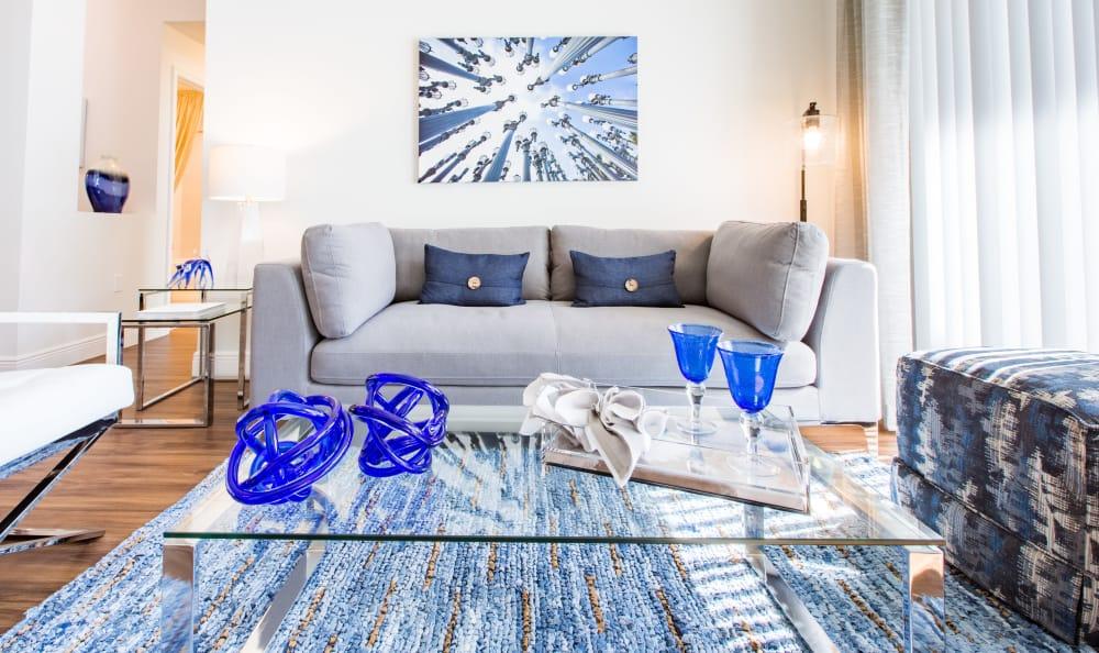 Sunlit living room at Luma at Miramar in Miramar, Florida