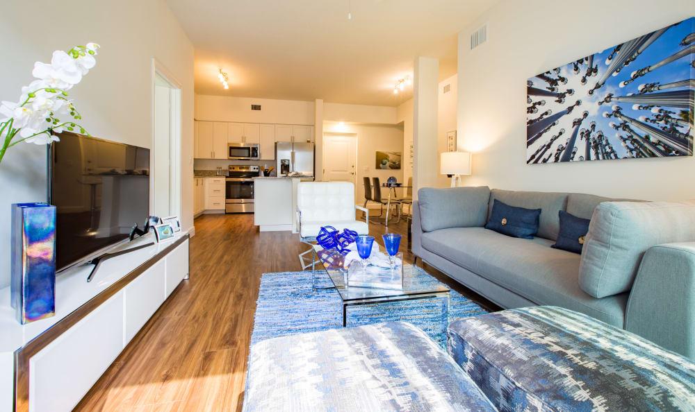 Modern living room at Luma at Miramar in Miramar, Florida