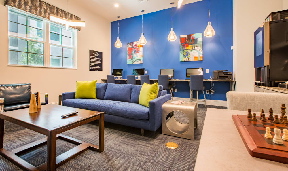 Cybercafe and lounge with starbucks machine at Luma at Miramar in Miramar, Florida