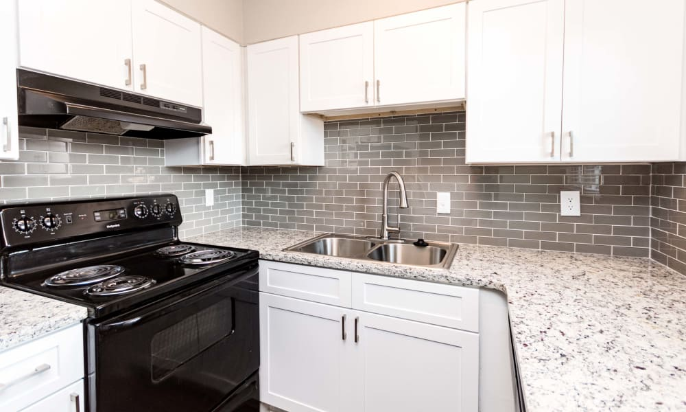 White kitchen at Lexington Park Apartments in Smyrna, Georgia