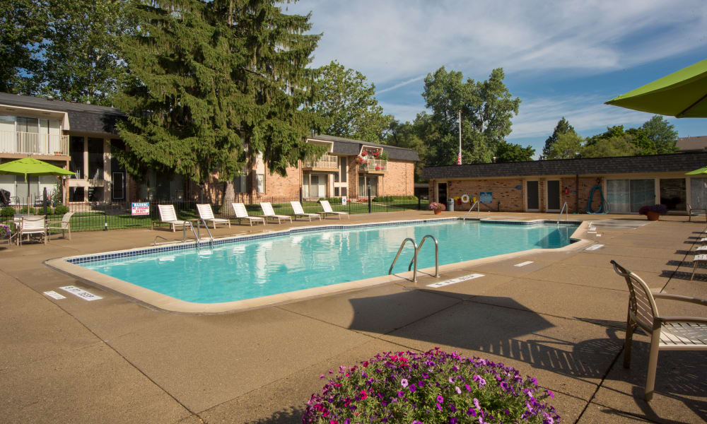 Swimming pool at Kensington Manor Apartments in Farmington, Michigan