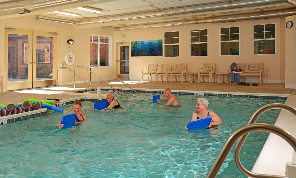 Residents exercising in the pool at Quail Park of Lynnwood in Lynnwood, Washington