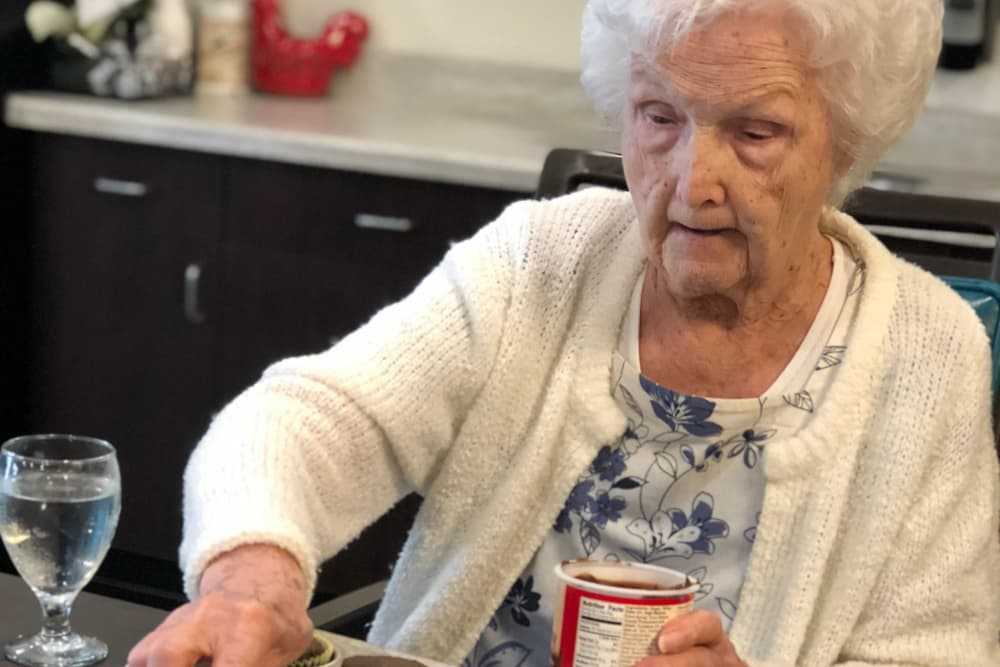 A resident frosting cupcakes at Ridgewood Health Campus in Lawrenceburg, Indiana