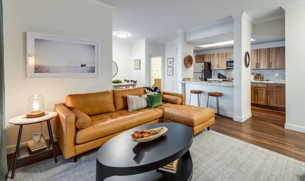 Modern styled living room at Riata Austin in Austin, Texas